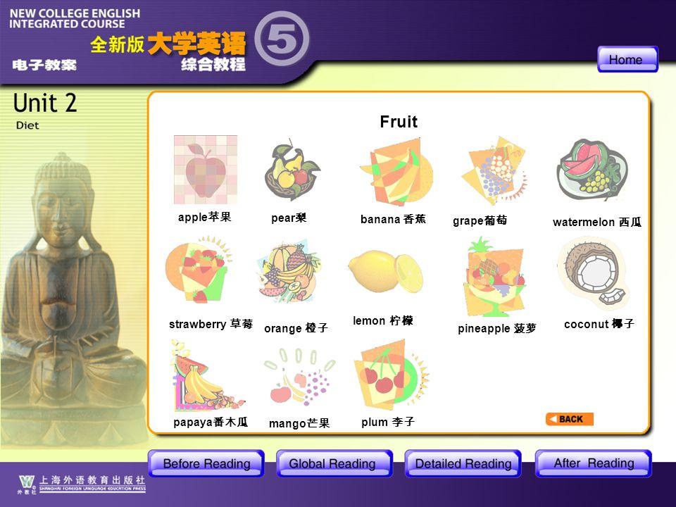 BR1- Word-web.3 Fruit apple苹果 pear梨 banana 香蕉 grape葡萄 watermelon 西瓜