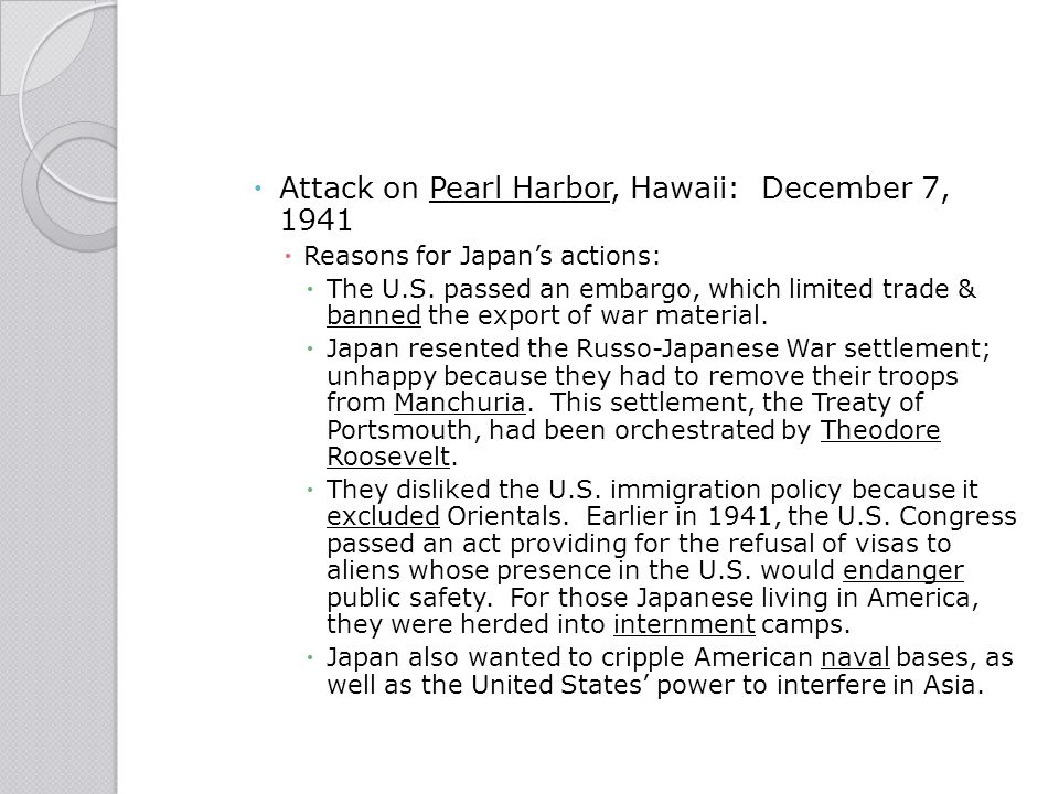 the attack on pearl harbor in 1941 and the reasons behind it Japan attacked pearl harbor for a few reasons  ss lurline sets sail, 27  november 1941, carrying members of two college football teams.