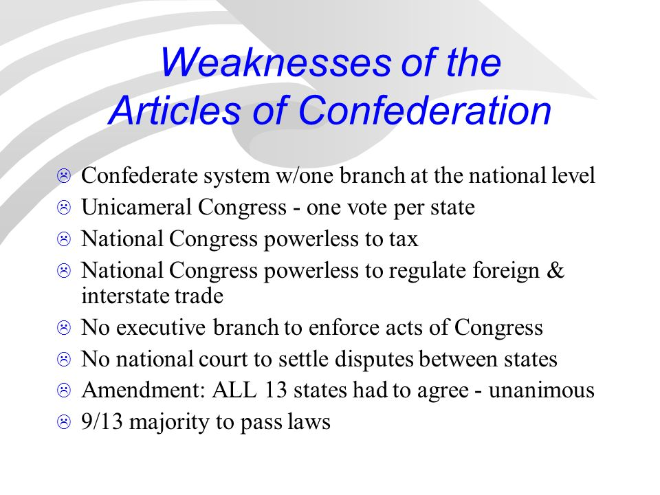 weaknesses articles confederation The weakness of the articles of confederation nano-historical essaystephen lupo history 151 19 march 2017.