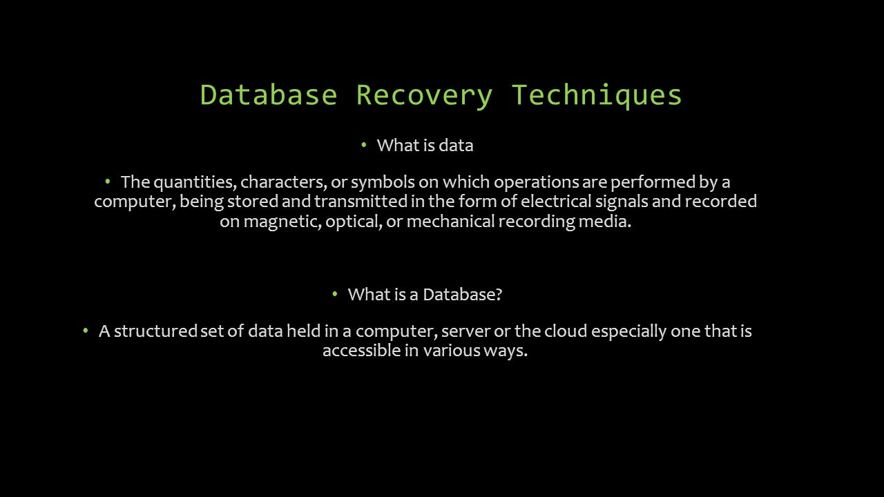 Database recovery techniques ppt download 4 database recovery techniques biocorpaavc Choice Image