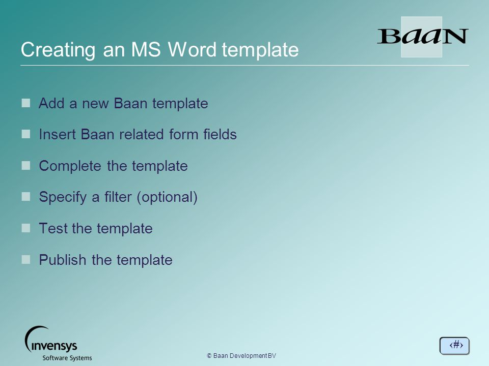 Creating an MS Word template BaanERP Tools