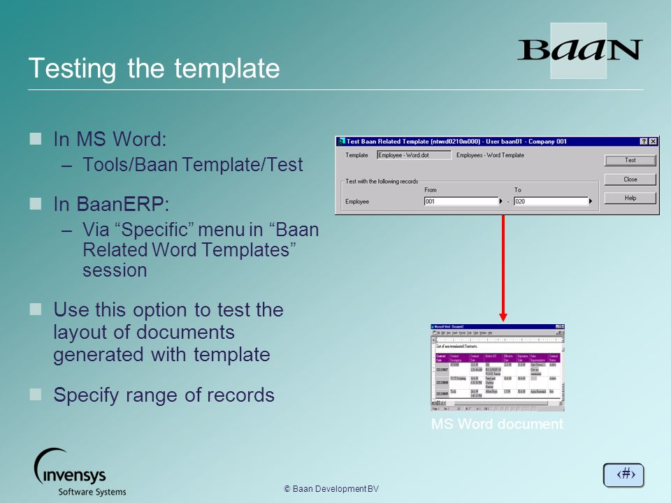 Testing the template In MS Word In