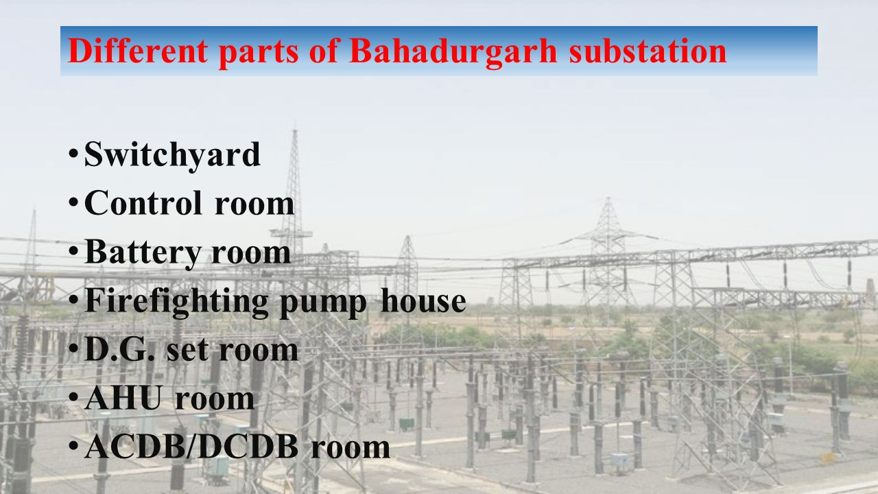 Different parts of Bahadurgarh substation