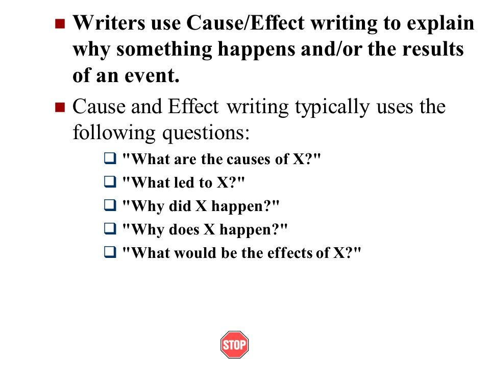 cause effect essay prompts Cause and effect: using expository writing to problem-solve directions: use the following grading rubric as a guide to complete your cause and effect essay.