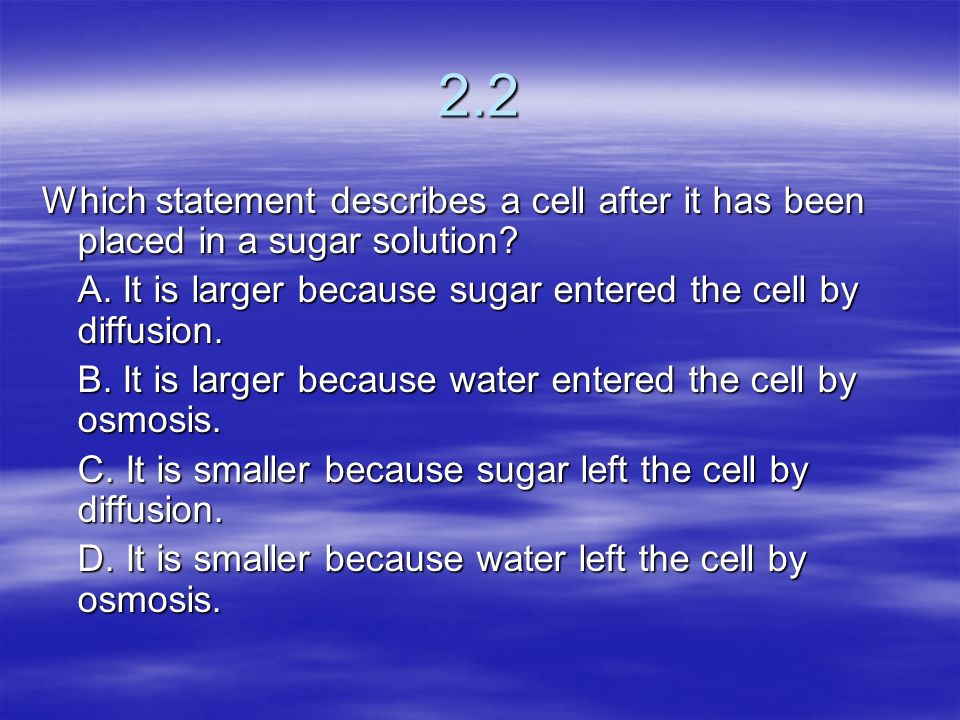 2.2 Which statement describes a cell after it has been placed in a sugar solution A. It is larger because sugar entered the cell by diffusion.