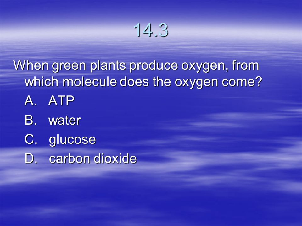 14.3 When green plants produce oxygen, from which molecule does the oxygen come A. ATP. B. water.