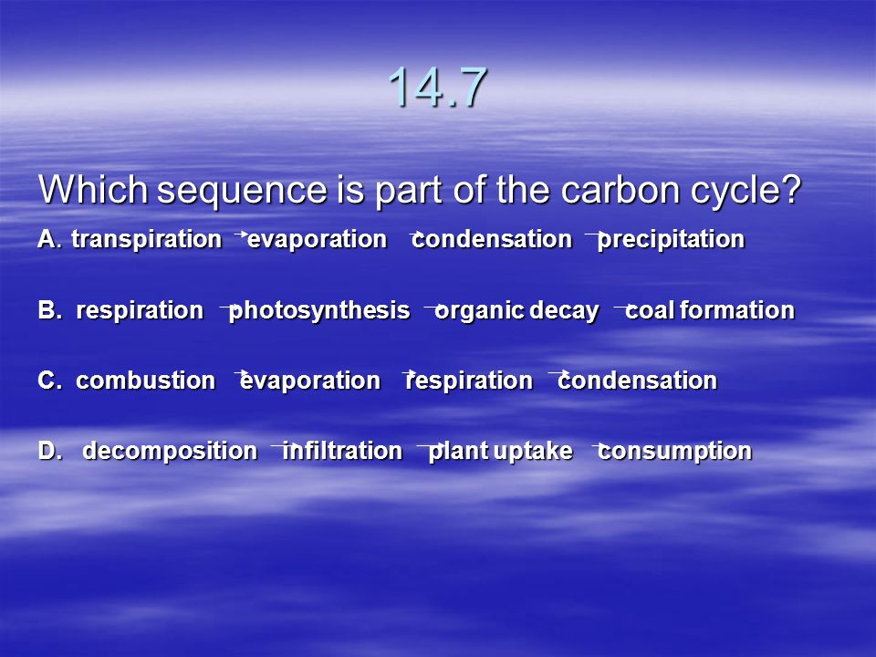 14.7 Which sequence is part of the carbon cycle