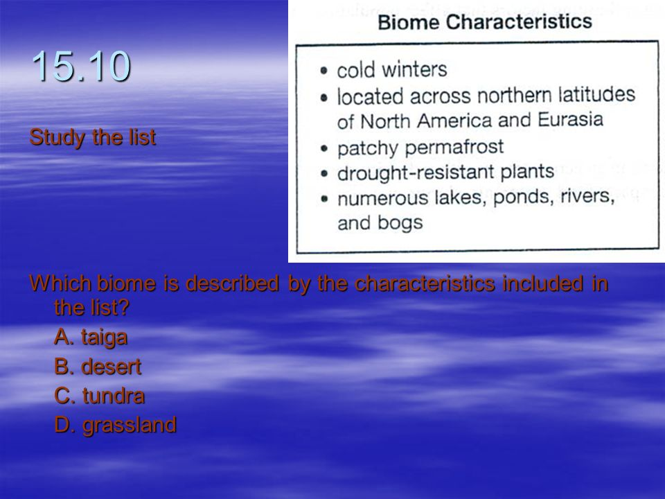 15.10 Study the list. Which biome is described by the characteristics included in the list A. taiga.