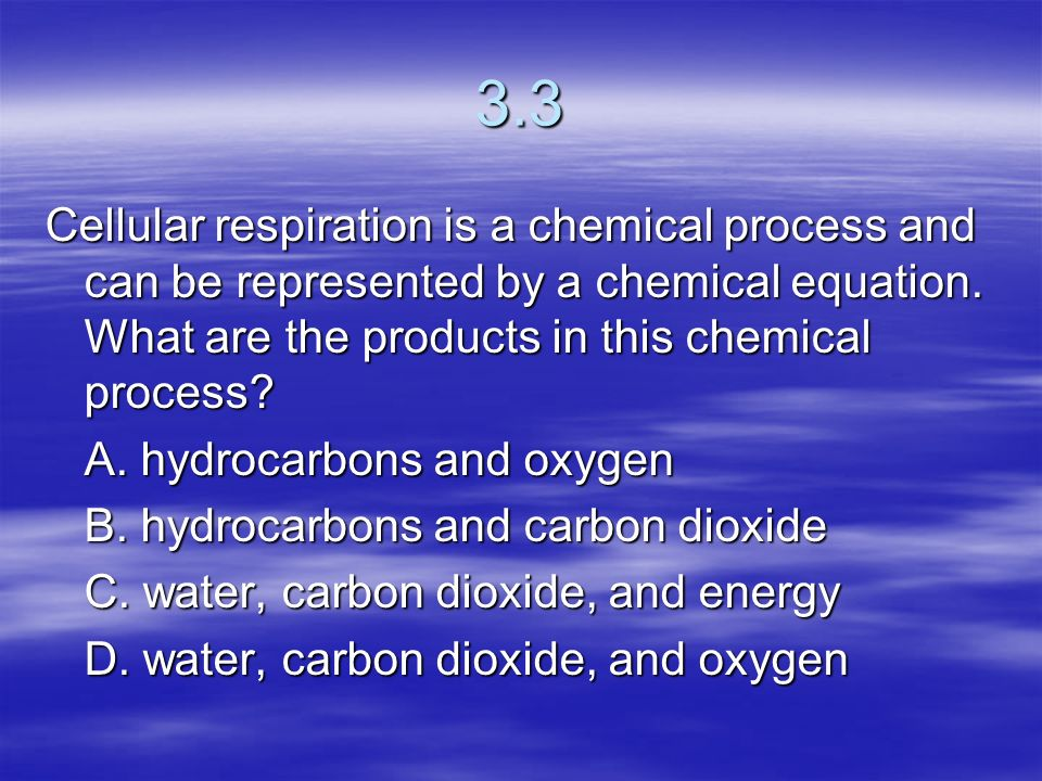 3.3 Cellular respiration is a chemical process and can be represented by a chemical equation. What are the products in this chemical process
