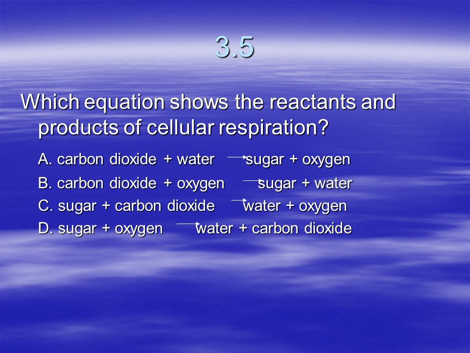 3.5 Which equation shows the reactants and products of cellular respiration A. carbon dioxide + water sugar + oxygen.