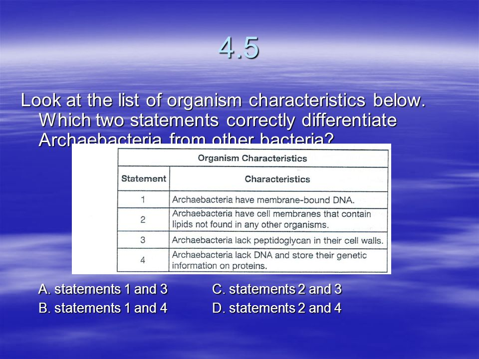 4.5 Look at the list of organism characteristics below. Which two statements correctly differentiate Archaebacteria from other bacteria