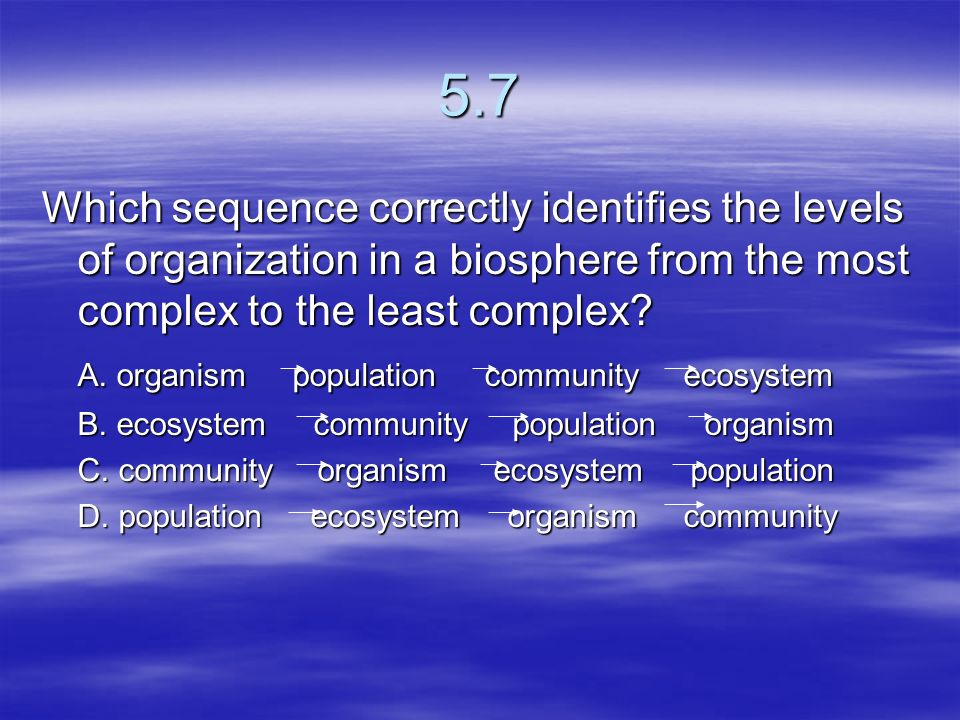 5.7 Which sequence correctly identifies the levels of organization in a biosphere from the most complex to the least complex