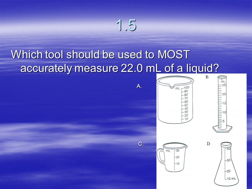1.5 Which tool should be used to MOST accurately measure 22.0 mL of a liquid A. C.