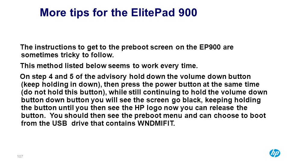 More tips for the ElitePad 900