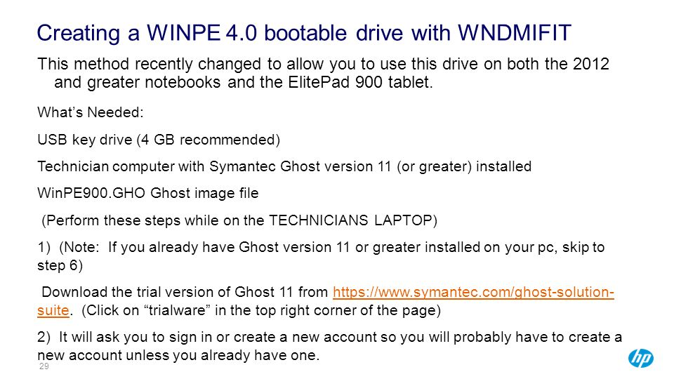 Creating a WINPE 4.0 bootable drive with WNDMIFIT