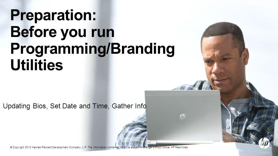 Preparation: Before you run Programming/Branding Utilities