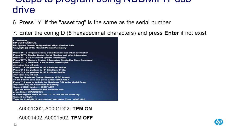Steps to program using NBDMIFIT usb drive
