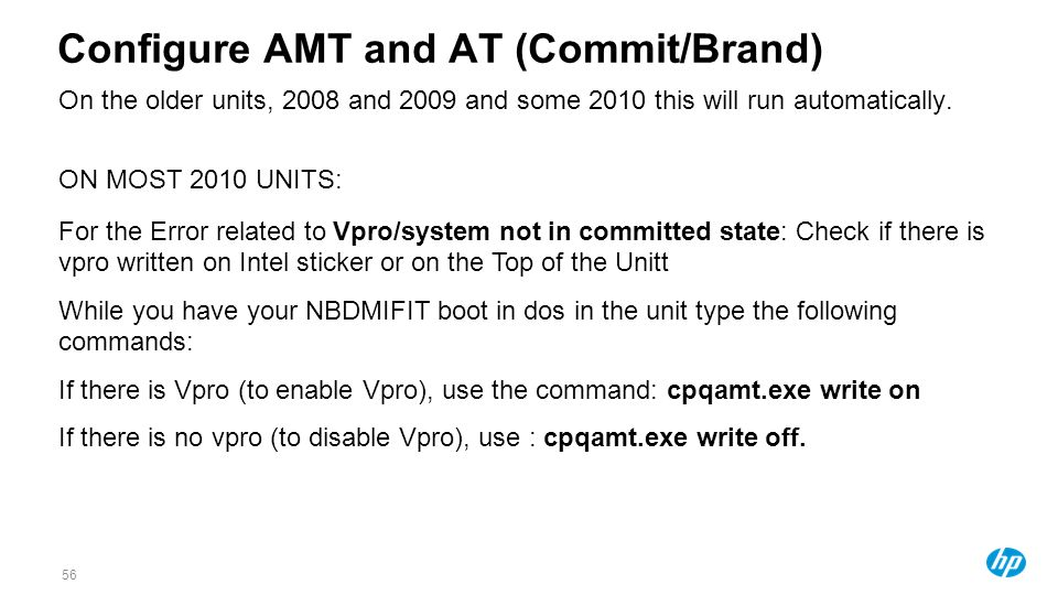 Configure AMT and AT (Commit/Brand)