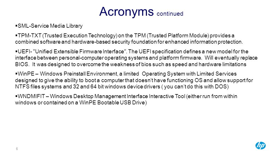 Acronyms continued SML-Service Media Library