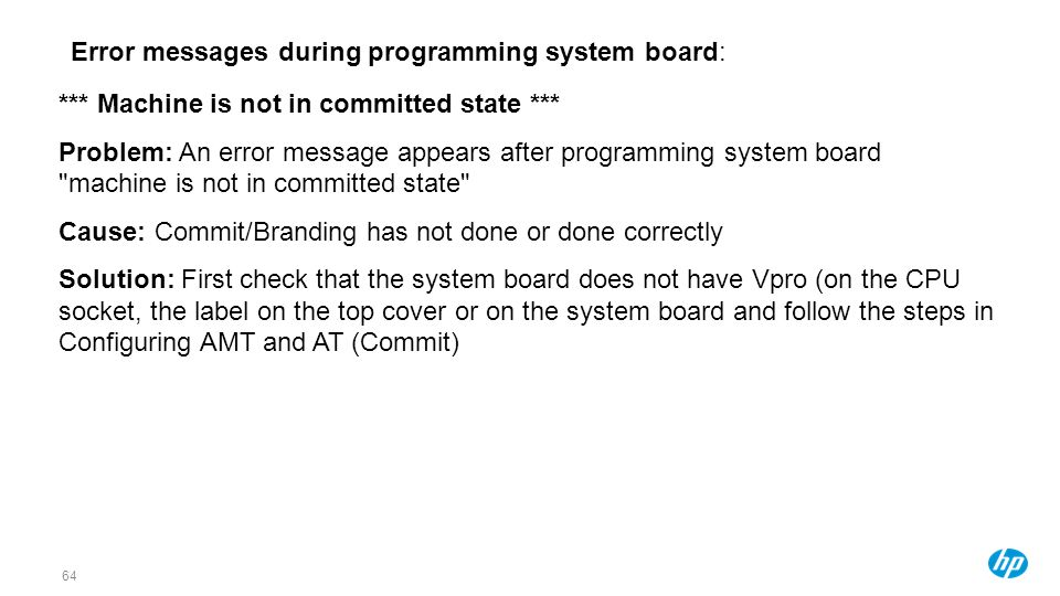 Error messages during programming system board: