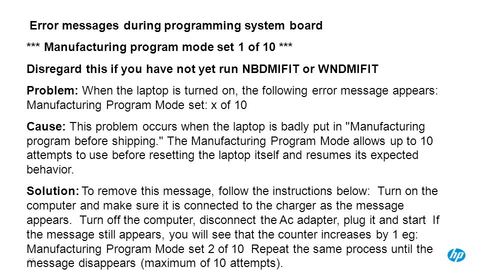 Error messages during programming system board