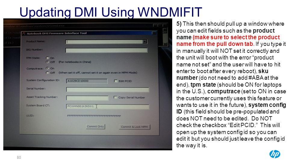 Updating DMI Using WNDMIFIT