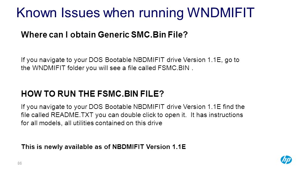 Known Issues when running WNDMIFIT