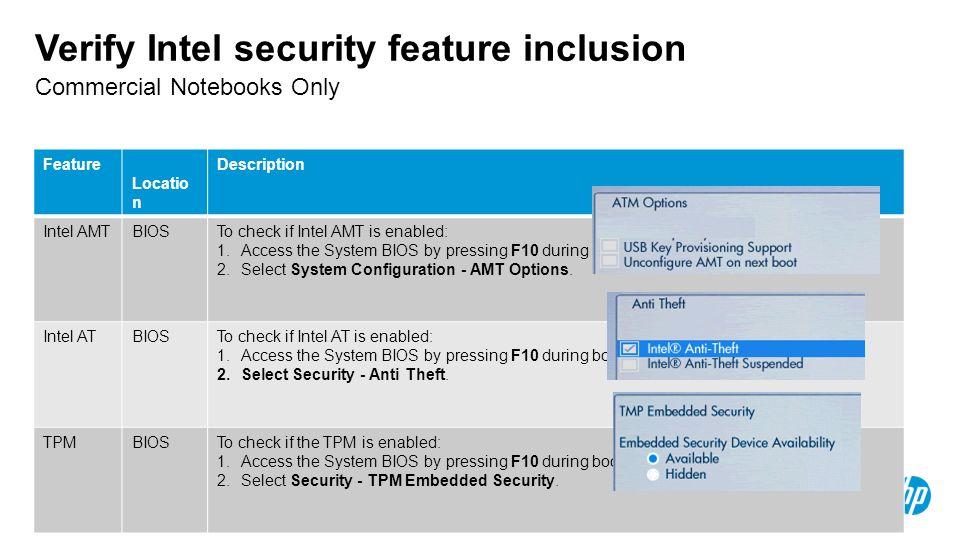 Verify Intel security feature inclusion