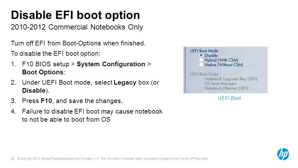 Disable EFI boot option