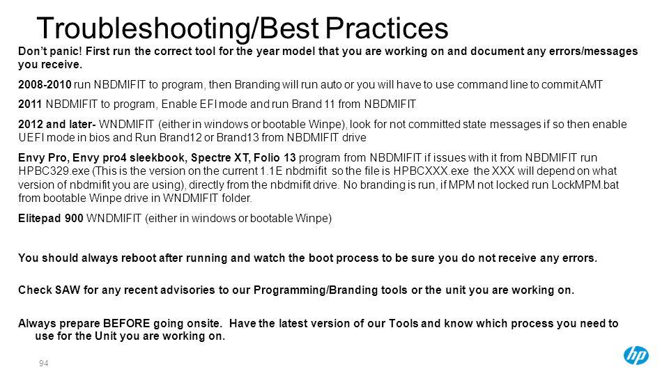 Troubleshooting/Best Practices
