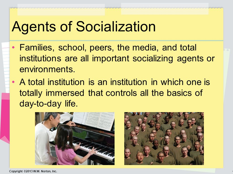 6 agents of socialization It's actually four known agent of socialization but in sociology they are five in numbers, the first one is the family : which is the first people a child will meet.