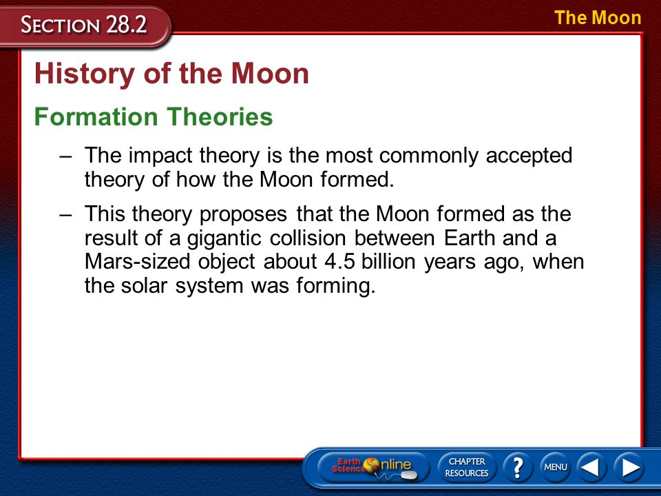 an introduction to the history and the theories on formation of earth Some work was done by thompson and stevenson in 1983 about the formation of moonlets in the disk of debris that formed around earth after the impact however, in general the theory languished until 1984 when an international meeting was organized in kona, hawaii, about the origin of the moon.