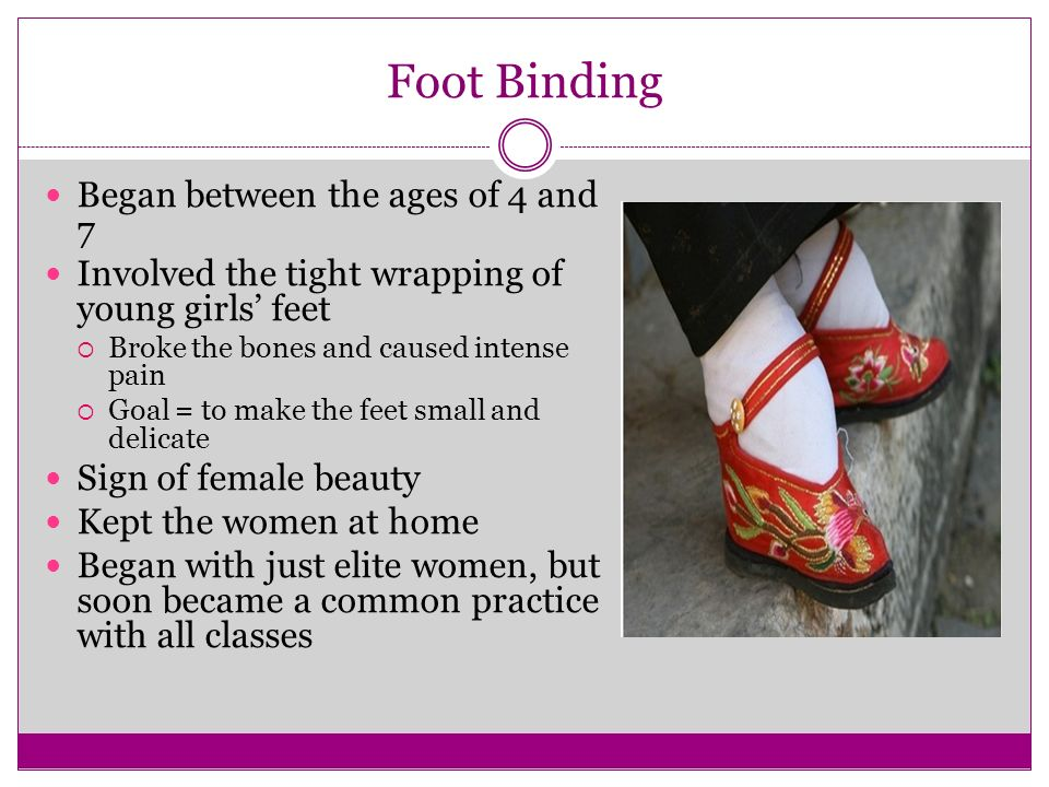 Foot Binding Began between the ages of 4 and 7