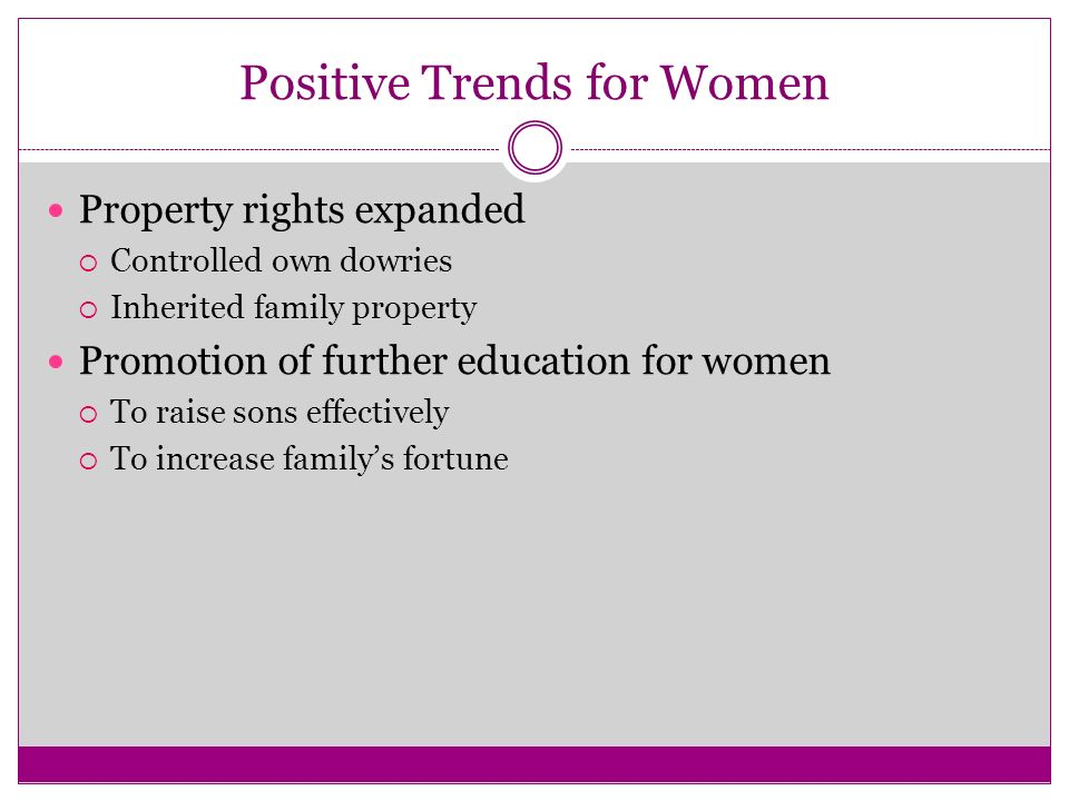 Positive Trends for Women