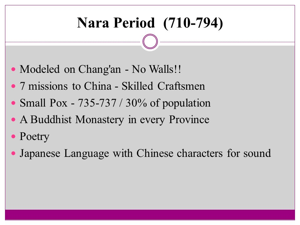 Nara Period ( ) Modeled on Chang an - No Walls!!