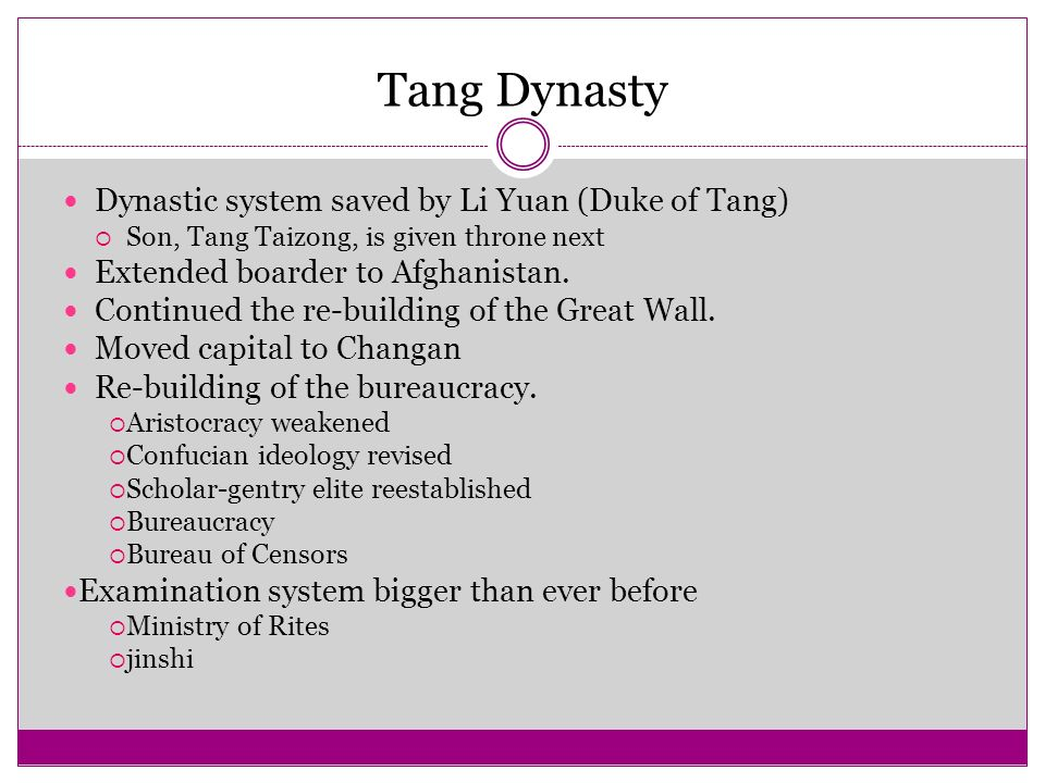 Tang Dynasty Dynastic system saved by Li Yuan (Duke of Tang)