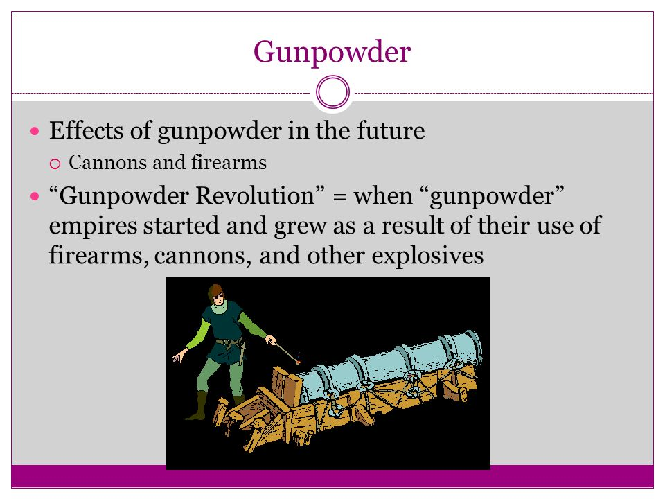 Gunpowder Effects of gunpowder in the future