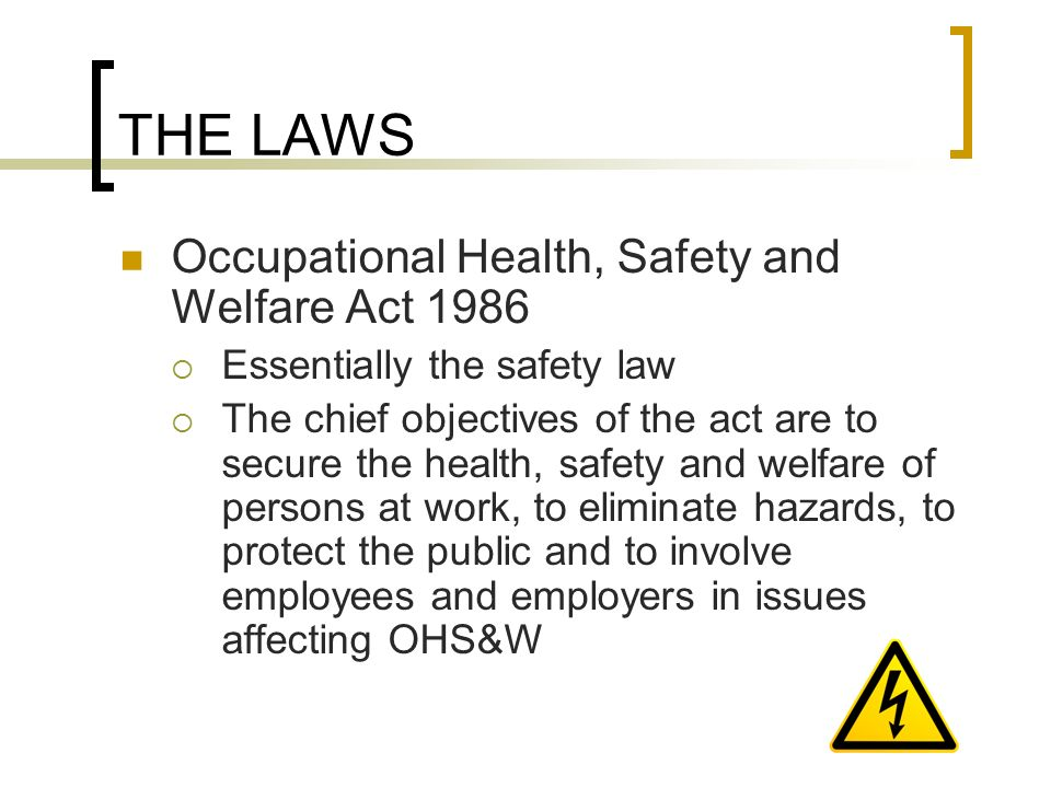 occupational safety and health act essay To all employees: as your employer, we are required to comply with all safety  and health legislation that applies to this company with this in mind we have.