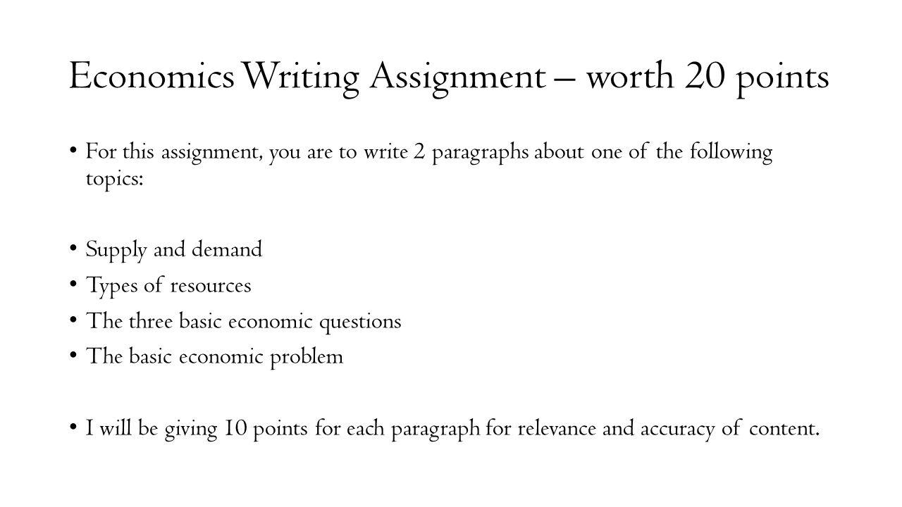 economic assignment question