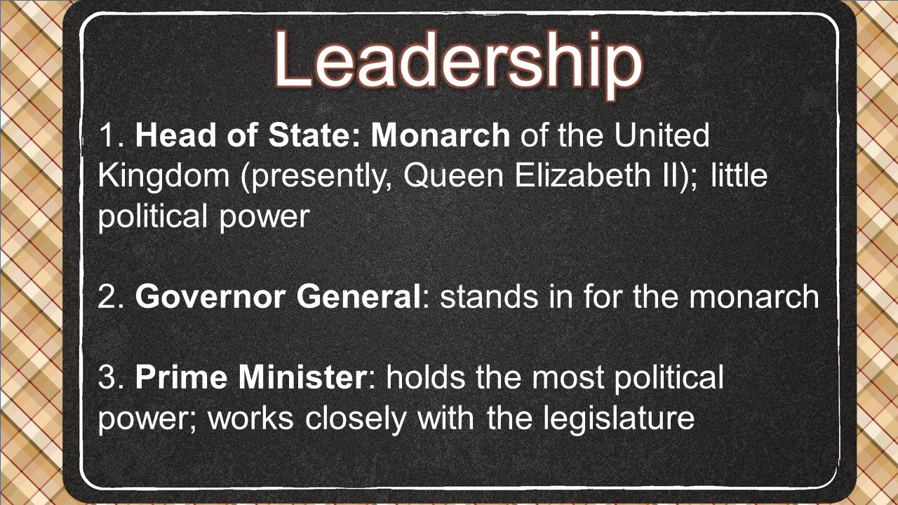Leadership 1. Head of State: Monarch of the United Kingdom (presently, Queen Elizabeth II); little political power.