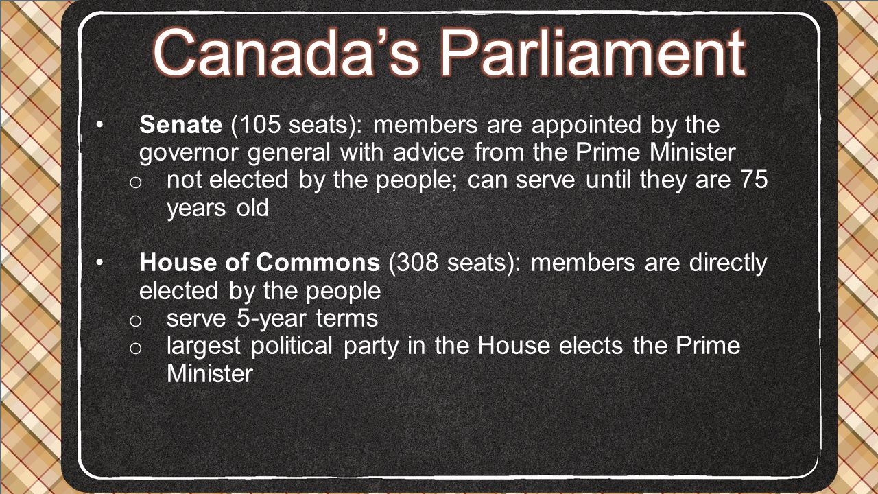 Canada's Parliament Senate (105 seats): members are appointed by the governor general with advice from the Prime Minister.