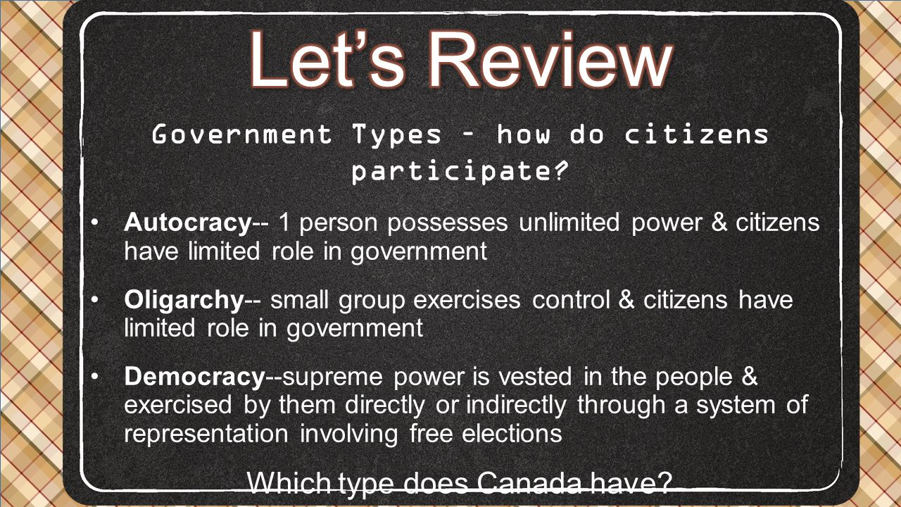Government Types – how do citizens participate