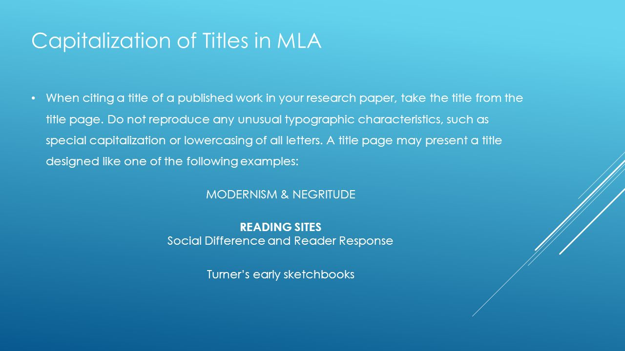 do mla research papers have titles Mla style: an introduction  mla papers do need a heading in which you  when you're writing a research paper, you're going to have to work other people's .