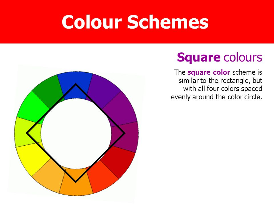 19 Square Colours The Color Scheme Is Similar To Rectangle But With All Four Colors Spaced Evenly Around Circle