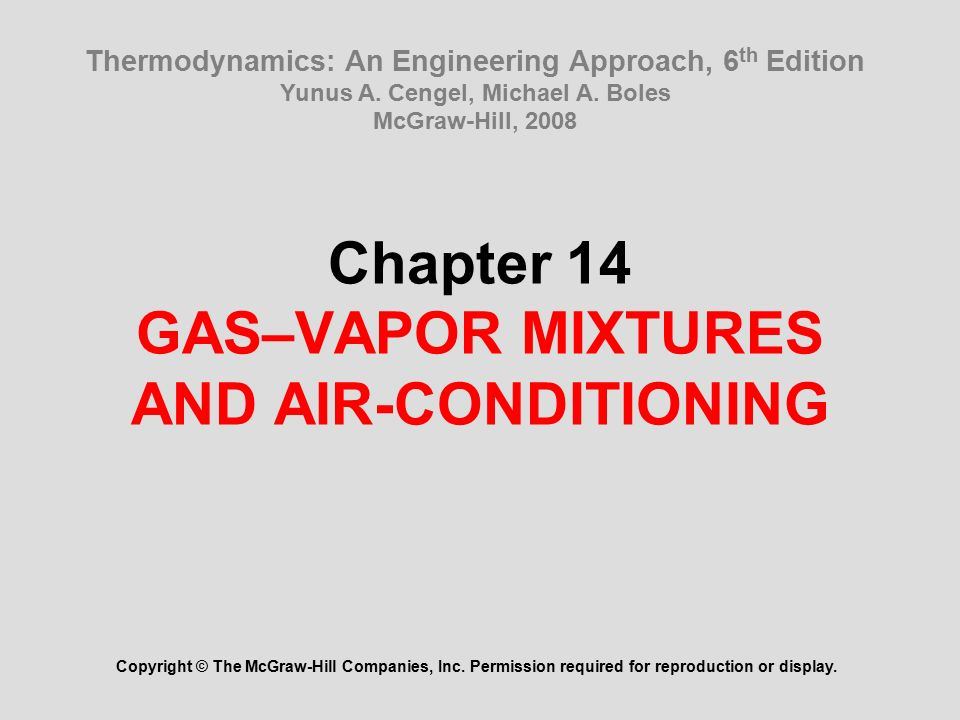 Chapter 14 Gas Vapor Mixtures And Air Conditioning Ppt Video