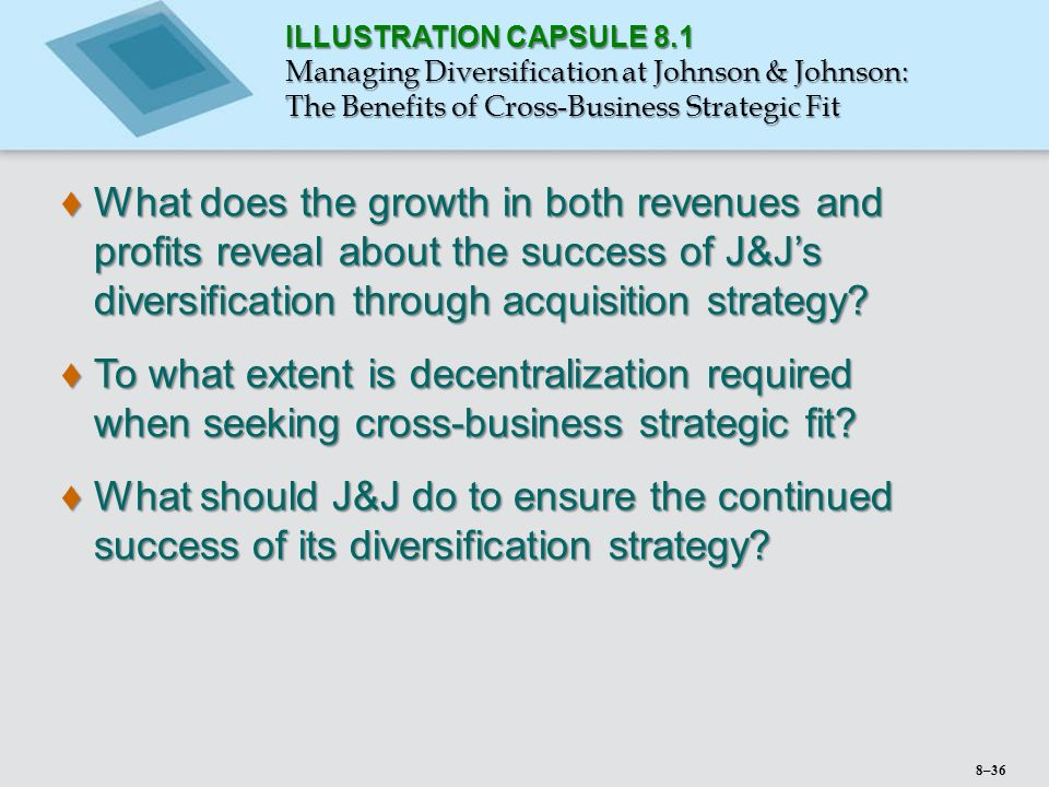 johnson and johnson diversification strategy Careers at johnson & johnson this diversification continued into the 20 th century  strategic and alliance partners.