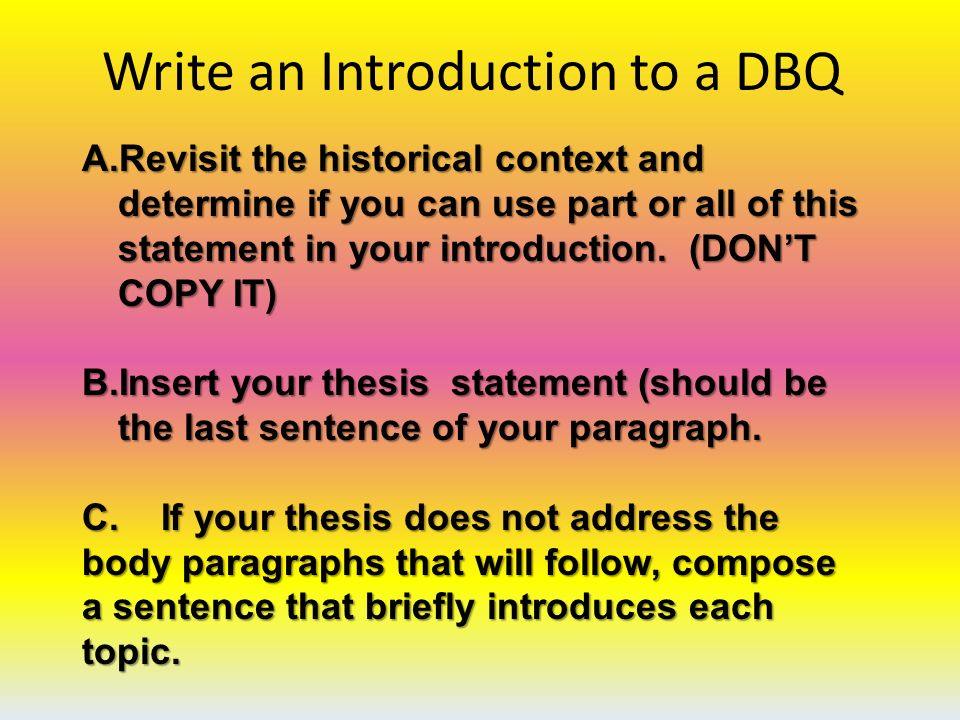 dbq essay writing format Essay writing guide essay writing guide and the third will be a document-based question format of the essays is essentially the same.