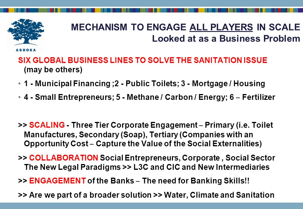 MECHANISM TO ENGAGE ALL PLAYERS IN SCALE Looked at as a Business Problem