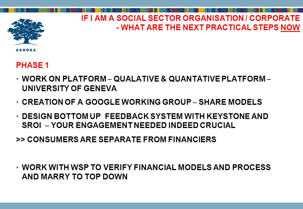 IF I AM A SOCIAL SECTOR ORGANISATION / CORPORATE - WHAT ARE THE NEXT PRACTICAL STEPS NOW