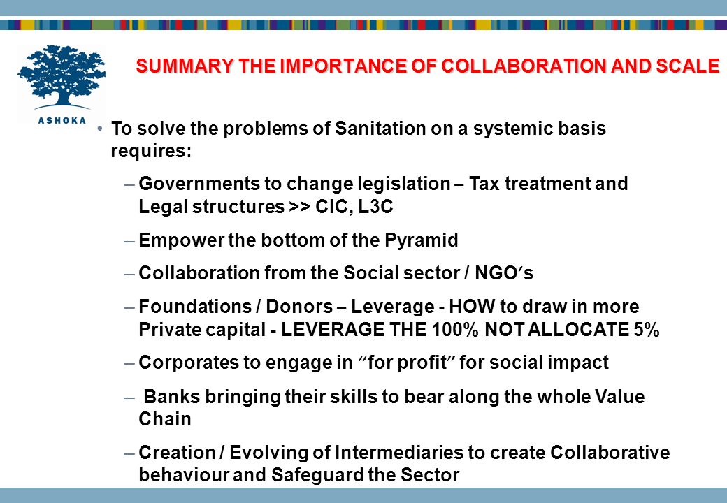 SUMMARY THE IMPORTANCE OF COLLABORATION AND SCALE